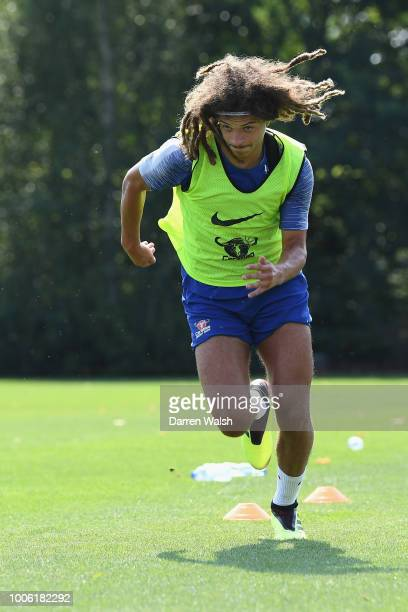 Ethan Ampadu of Chelsea during a training session at Chelsea Training Ground on July 27 2018 in Cobham England