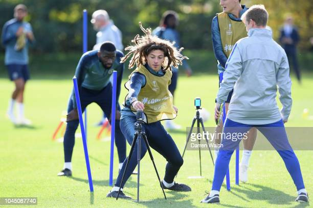 Ethan Ampadu of Chelsea during a training session at Chelsea Training Ground on October 3 2018 in Cobham England