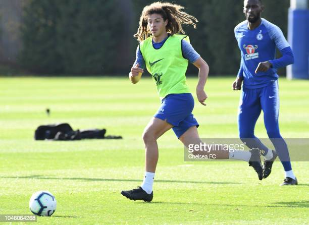 Ethan Ampadu of Chelsea during a training session at Chelsea Training Ground on October 5 2018 in Cobham England