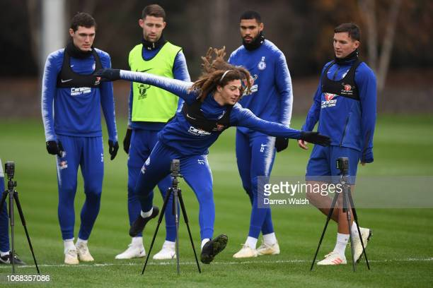 Ethan Ampadu of Chelsea during a training session at Chelsea Training Ground on December 4 2018 in Cobham England