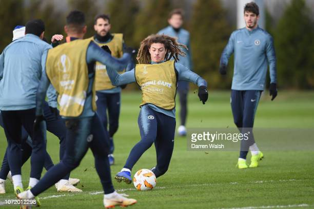 Ethan Ampadu of Chelsea during a training session at Chelsea Training Ground on December 12 2018 in Cobham England