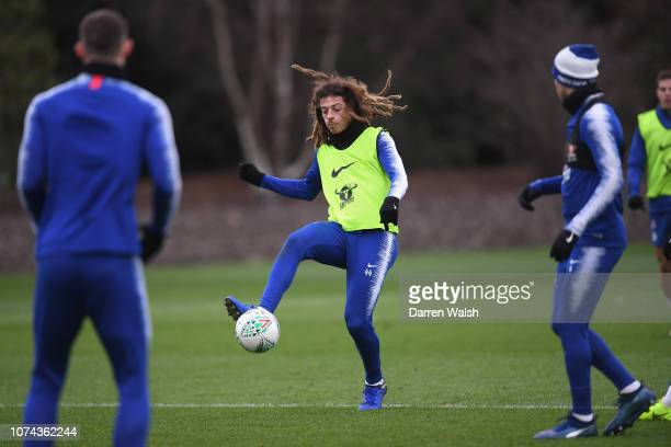 Ethan Ampadu of Chelsea during a training session at Chelsea Training Ground on December 18 2018 in Cobham United Kingdom