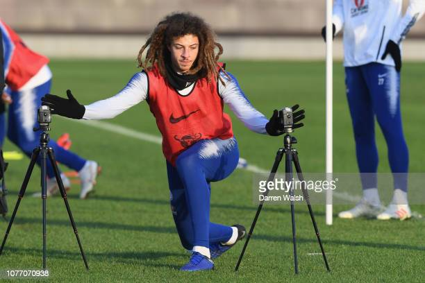 Ethan Ampadu of Chelsea during a training session at Chelsea Training Ground on January 4 2019 in Cobham England