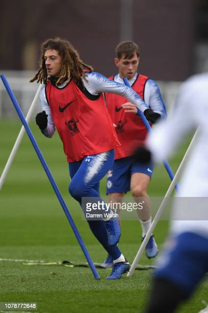 Ethan Ampadu of Chelsea during a training session at Chelsea Training Ground on January 7 2019 in Cobham England