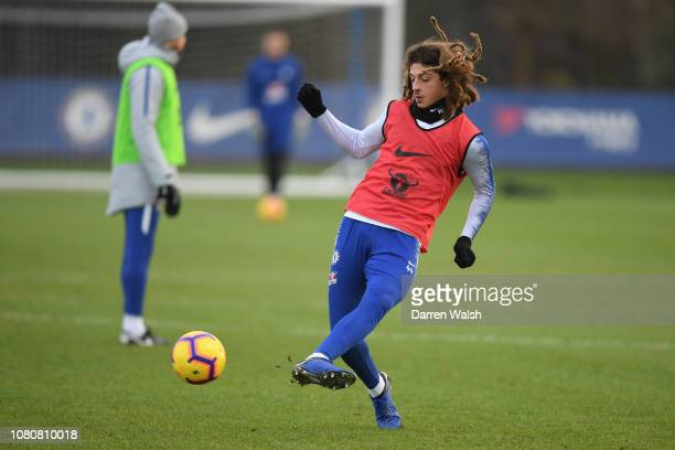 Ethan Ampadu of Chelsea during a training session at Chelsea Training Ground on January 11 2019 in Cobham England