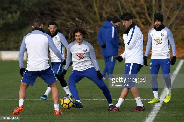 Ethan Ampadu of Chelsea during a training session at Chelsea Training Ground on November 28 2017 in Cobham England