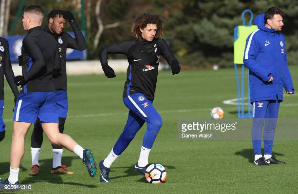 Ethan Ampadu of Chelsea during a training session at Chelsea Training Ground on January 16 2018 in Cobham England
