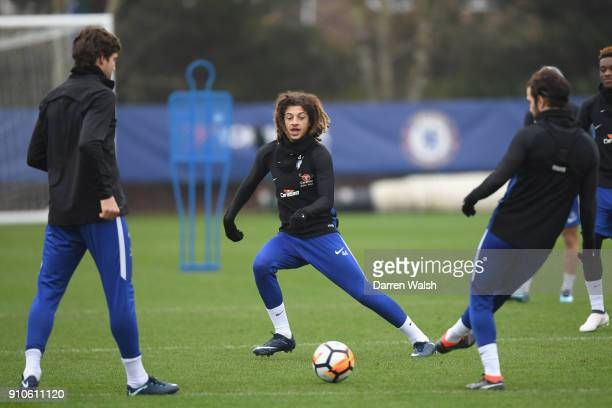 Ethan Ampadu of Chelsea during a training session at Chelsea Training Ground on January 26 2018 in Cobham England