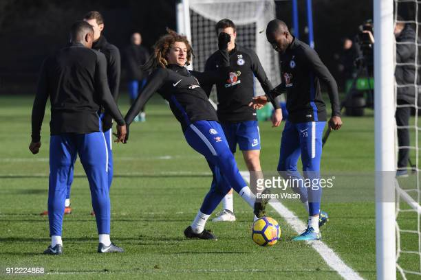 Ethan Ampadu of Chelsea during a training session at Chelsea Training Ground on January 30 2018 in Cobham England