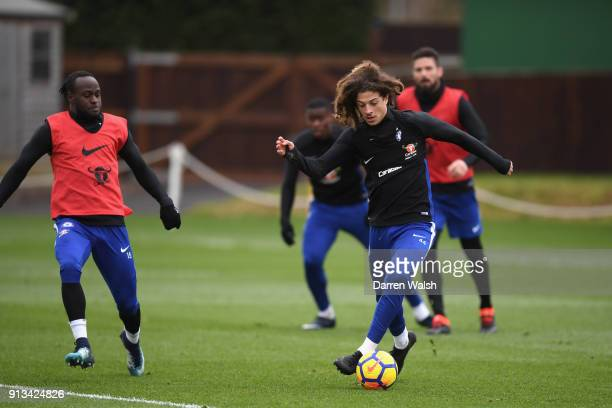 Ethan Ampadu of Chelsea during a training session at Chelsea Training Ground on February 2 2018 in Cobham England