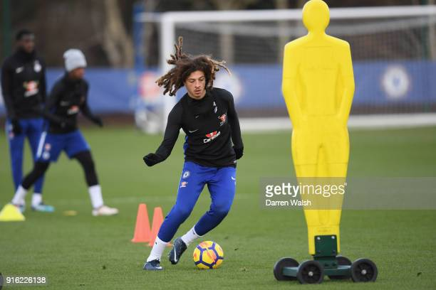 Ethan Ampadu of Chelsea during a training session at Chelsea Training Ground on February 9 2018 in Cobham England