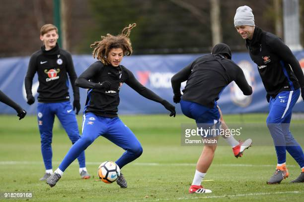 Ethan Ampadu of Chelsea during a training session at Chelsea Training Ground on February 14 2018 in Cobham England