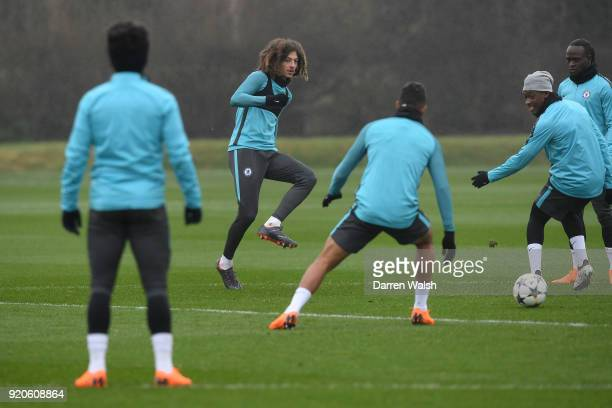Ethan Ampadu of Chelsea during a training session at Chelsea Training Ground on February 19 2018 in Cobham England