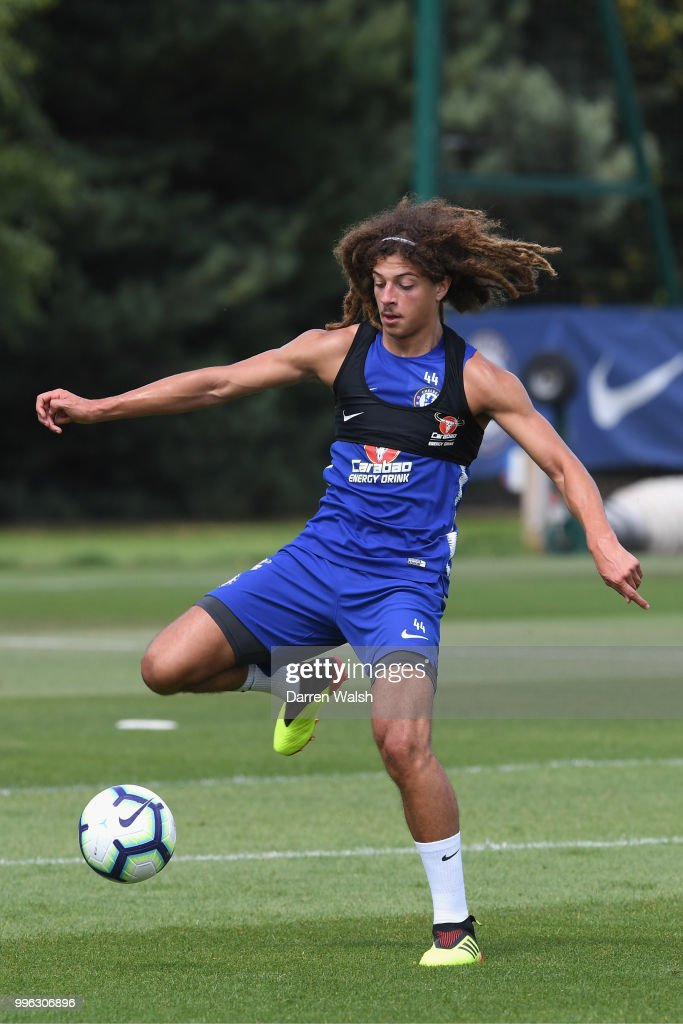Ethan Ampadu of Chelsea during a training session at Chelsea Training Ground on July 11, 2018 in Cobham, England.