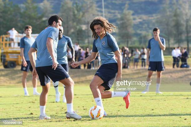 Ethan Ampadu of Chelsea during a training session at Lolas Training Complex on September 19 2018 in Thessaloniki Greece