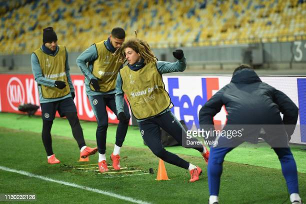 Ethan Ampadu of Chelsea during a training session at Valeriy Lobanovskyy Stadium on March 13 2019 in Kiev Ukraine