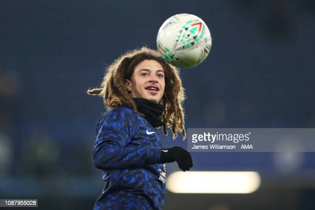 Ethan Ampadu of Chelsea during the Carabao Cup SemiFinal Second Leg match between Chelsea and Tottenham Hotspur at Stamford Bridge on January 24 2019...
