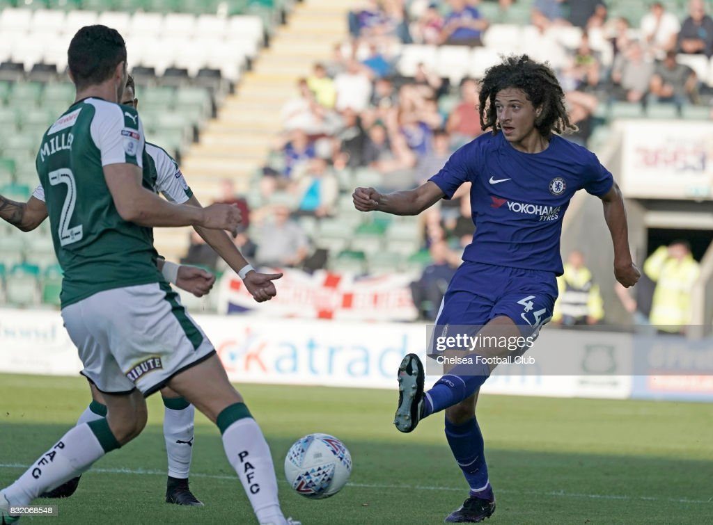 Ethan Ampadu of Chelsea during the Checkatrade Trophy match at Home Park on August 15, 2017 in Plymouth, England.