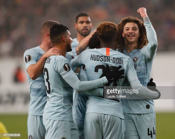 Ethan Ampadu of Chelsea FC celebrates Willian's score with teammates during the UEFA Europa League Group Stage Match between Vidi FC and Chelsea FC...