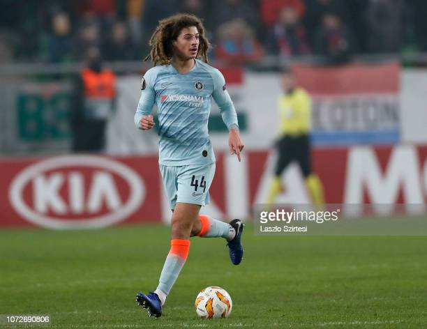 Ethan Ampadu of Chelsea FC controls the ball during the UEFA Europa League Group Stage Match between Vidi FC and Chelsea FC at Ferencvaros Stadium on...