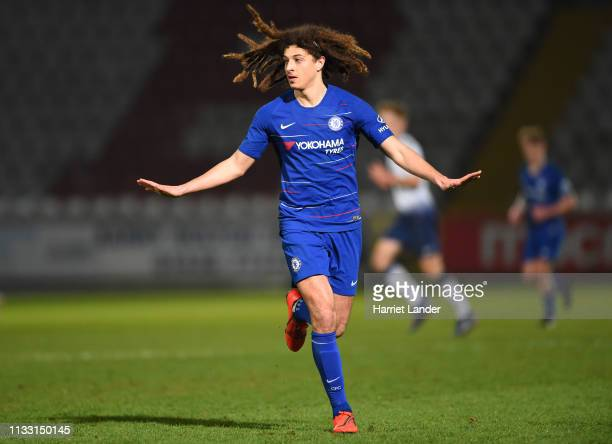 Ethan Ampadu of Chelsea gives his team instructions during the Premier League 2 match between Tottenham Hotspur and Chelsea at The Lamex Stadium on...