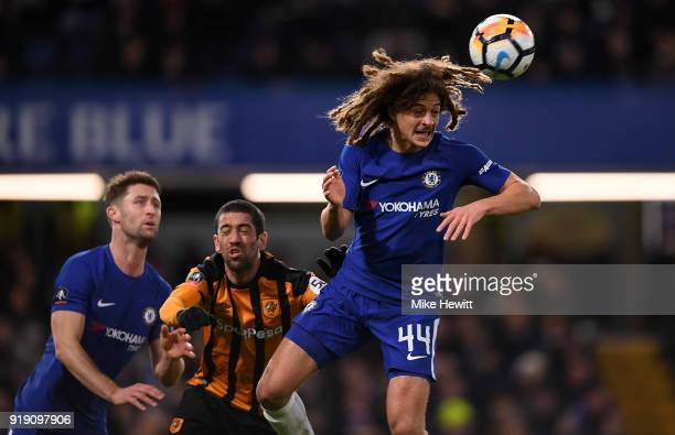 Ethan Ampadu of Chelsea heads clear during The Emirates FA Cup Fifth Round match between Chelsea and Hull City at Stamford Bridge on February 16 2018...