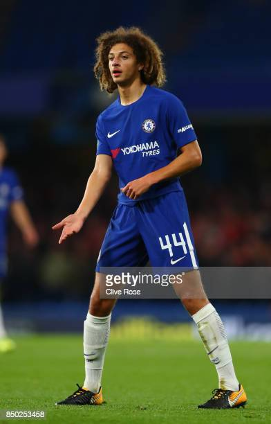 Ethan Ampadu of Chelsea in action during the Carabao Cup Third Round match between Chelsea and Nottingham Forest at Stamford Bridge on September 19...