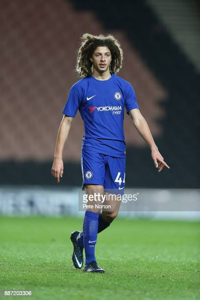 Ethan Ampadu of Chelsea in action during the Checkatrade Trophy Second Round match between Milton Keynes Dons and Chelsea U21vat StadiumMK on...