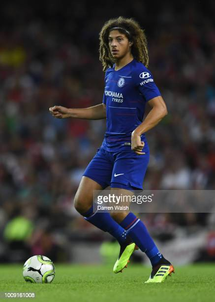 Ethan Ampadu of Chelsea in action during the International Champions Cup 2018 match between Arsenal and Chelsea at the Aviva Stadium on August 1 2018...
