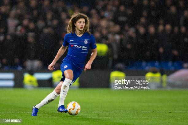 Ethan Ampadu of Chelsea in action during the UEFA Europa League Group L match between Chelsea and PAOK at Stamford Bridge on November 29 2018 in...
