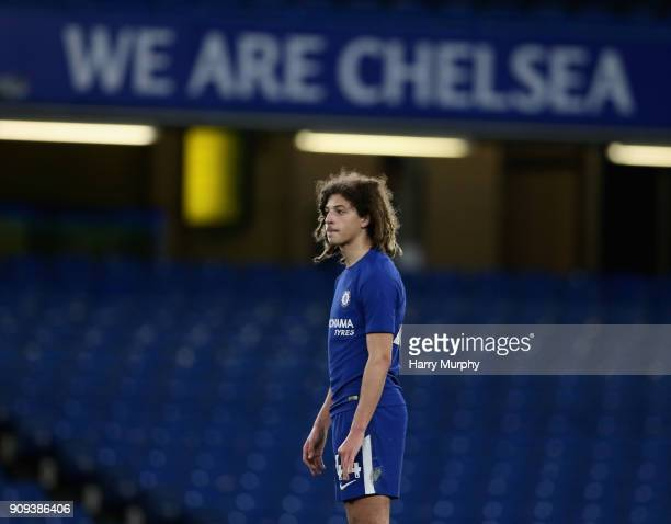 Ethan Ampadu of Chelsea looks on during the Checkatrade Trophy match between Chelsea U21 and Oxford United at Stamford Bridge on January 23 2018 in...