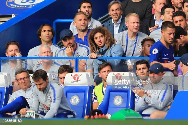 Ethan Ampadu of Chelsea looks on during the Premier League match between Chelsea FC and Cardiff City at Stamford Bridge on September 15 2018 in...