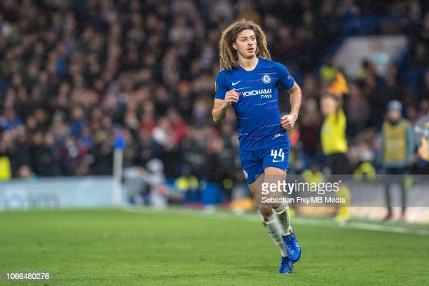 Ethan Ampadu of Chelsea looks on during the UEFA Europa League Group L match between Chelsea and PAOK at Stamford Bridge on November 29 2018 in...