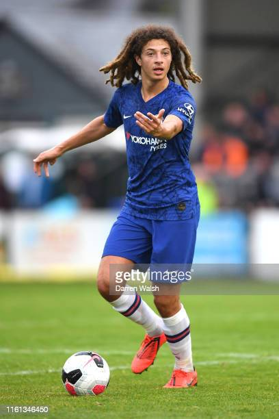 Ethan Ampadu of Chelsea runs with the ball during the PreSeason Friendly match between Bohemians FC and Chelsea FC at Dalymount Park on July 10 2019...