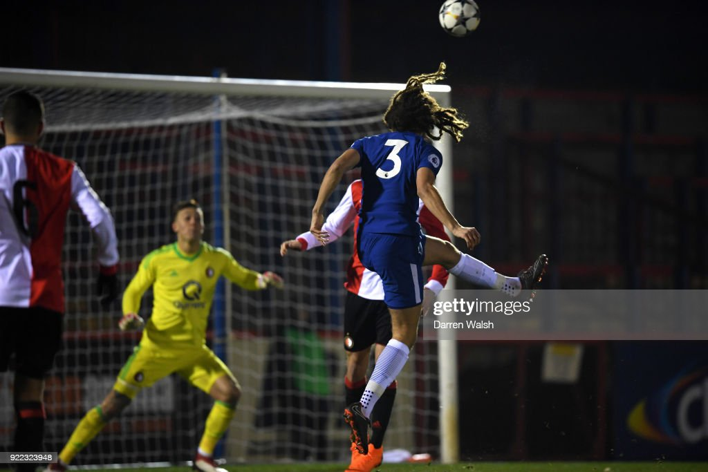 Ethan Ampadu of Chelsea scores his goal and Chelsea's 1st during the UEFA Youth League Round of 16 match between Chelsea FC and Feyenoord at EBB Stadium on February 21, 2018 in Aldershot, United Kingdom.