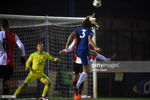 Ethan Ampadu of Chelsea scores his goal and Chelsea's 1st during the UEFA Youth League Round of 16 match between Chelsea FC and Feyenoord at EBB...
