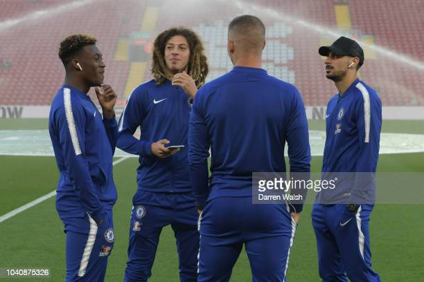 Ethan Ampadu of Chelsea speaks to Davide Zappacosta of Chelsea and Ross Barkley of Chelsea on the pitch prior to the Carabao Cup Third Round match...