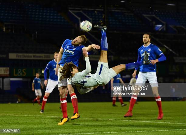 Ethan Ampadu of Chelsea toys an overhead kick in front of the goal during the U23 Checkatrade Trophy match between Portsmouth and Chelsea at Fratton...