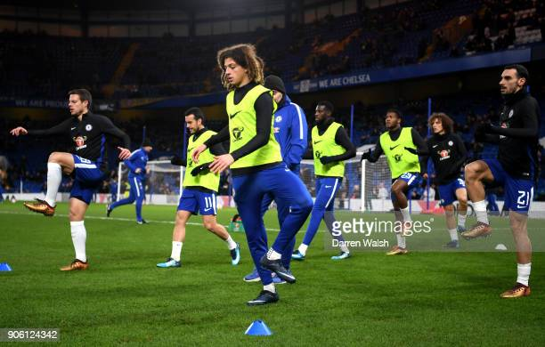 Ethan Ampadu of Chelsea warms up during The Emirates FA Cup Third Round Replay between Chelsea and Norwich City at Stamford Bridge on January 17 2018...