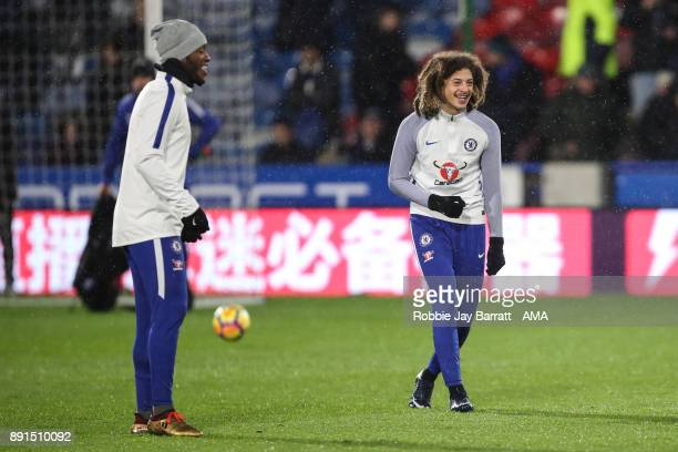 Ethan Ampadu of Chelsea warms up during the Premier League match between Huddersfield Town and Chelsea at John Smith's Stadium on December 12 2017 in...