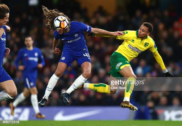 Ethan Ampadu of Chelsea wins a header from Josh Murphy of Norwich City during The Emirates FA Cup Third Round Replay between Chelsea and Norwich City...