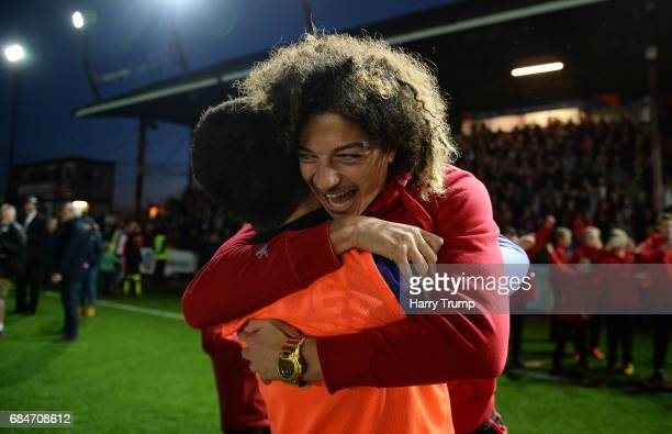Ethan Ampadu of Exeter City celebrates at the final whistle during the Sky Bet League Two Play off Semi Final Second Leg match between Exeter City...