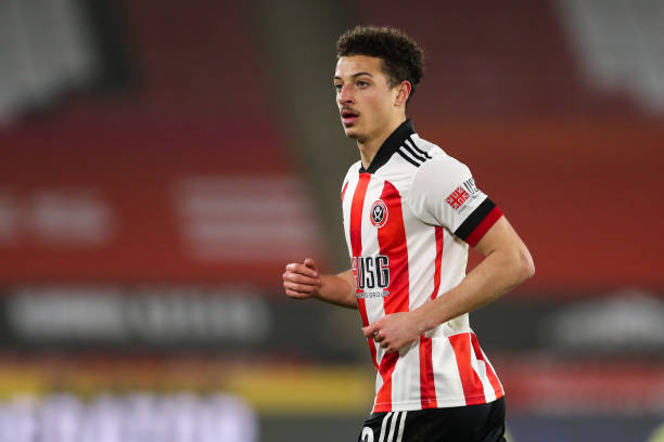 Ethan Ampadu of Sheffield United during the Premier League match between Sheffield United and Aston Villa at Bramall Lane on March 3, 2021 in...