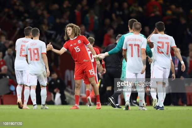 Ethan Ampadu of Wales and Koke of Spain at full time during the International Friendly match between Wales and Spain on October 11 2018 in Cardiff...