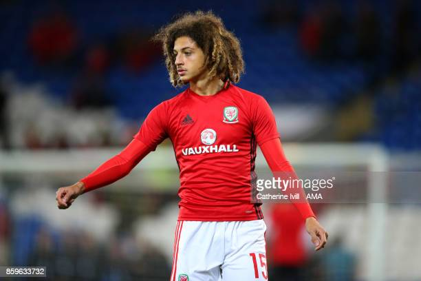 Ethan Ampadu of Wales during the FIFA 2018 World Cup Qualifier between Wales and Republic of Ireland at Cardiff City Stadium on October 9 2017 in...