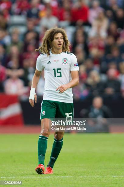 Ethan Ampadu of Wales during the UEFA Nations League B group four match between Denmark and Wales at Ceres Park on September 9 2018 in Aarhus Denmark
