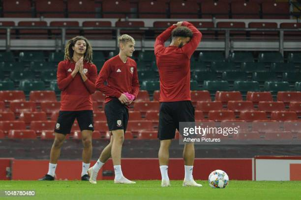 Ethan Ampadu of Wales during the Wales Training Session at The Principality Stadium on October 10 2018 in Cardiff Wales