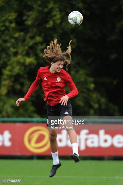 Ethan Ampadu of Wales during the Wales Training Session at The Vale Resort on October 8 2018 in Cardiff Wales