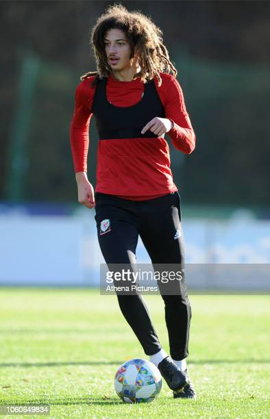 Ethan Ampadu of Wales during the Wales Training Session at The Vale Resort on November 12 2018 in Cardiff Wales
