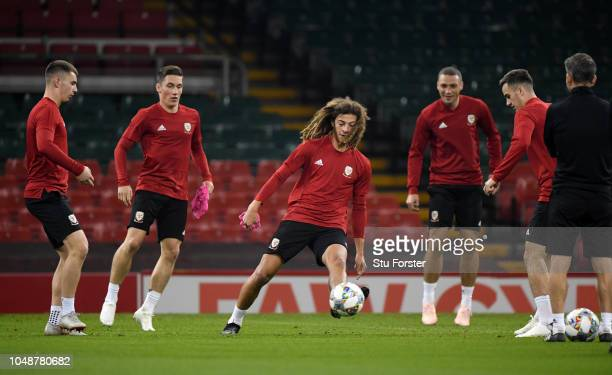 Ethan Ampadu of Wales in action during a Wales Training Session at Principality Stadium on October 10 2018 in Cardiff Wales